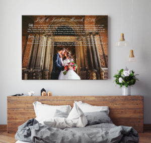 mock up blank poster on the wall of bedroom, 3D illustration bac
