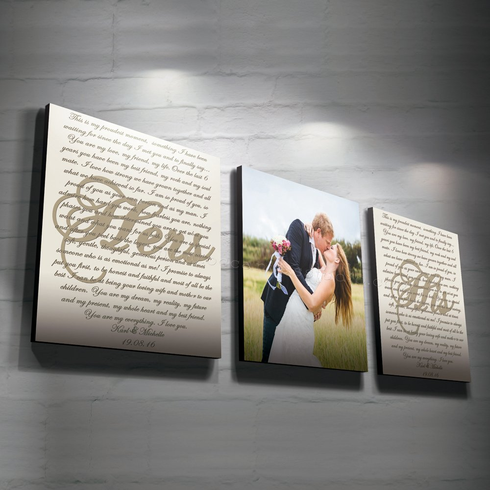 Set Of 3 Custom Canvas Prints Wedding Photo And Vows