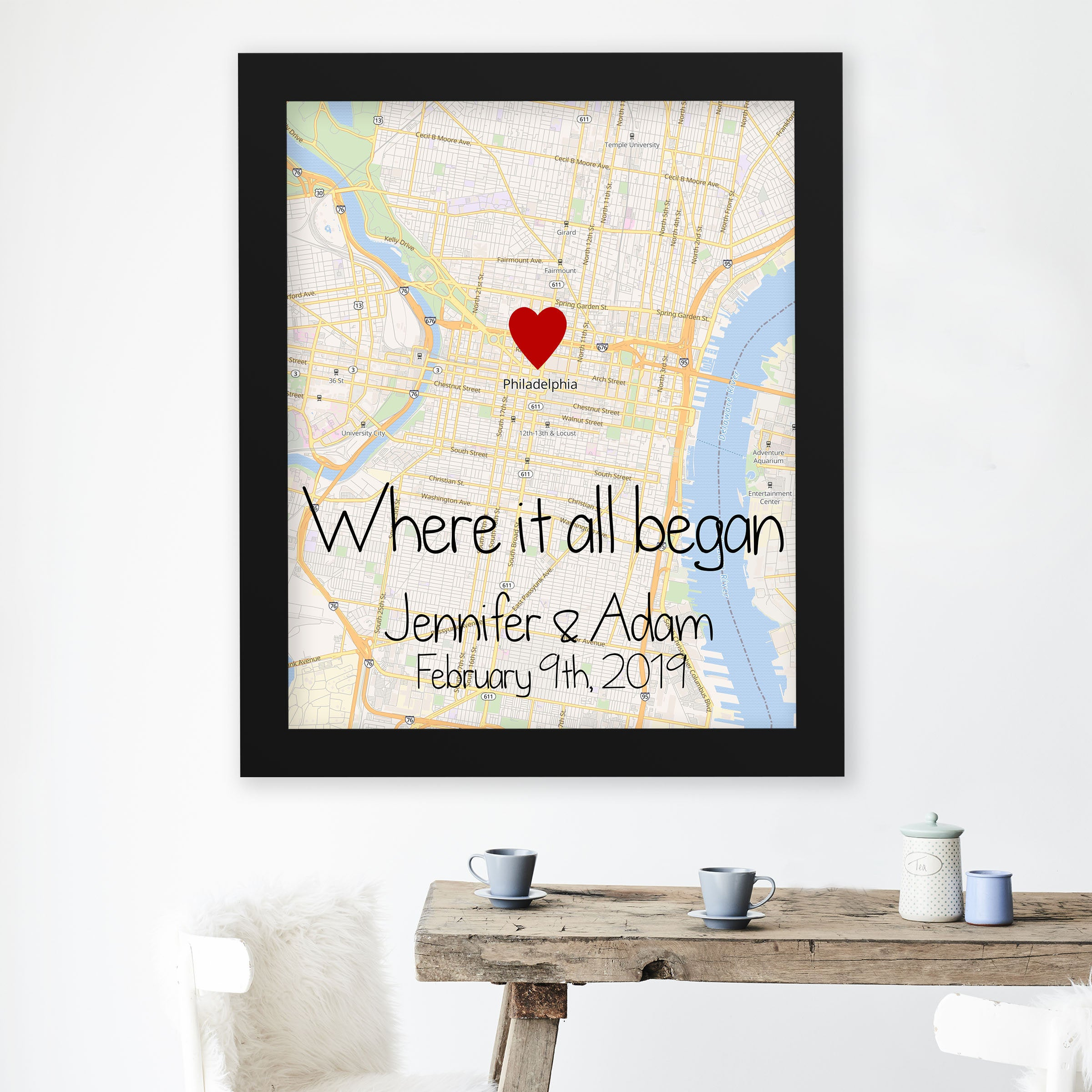 READY to HANG Gallery Wrapped Canvas Wall Art Signed Birthday Engagement Anniversary CUSTOM